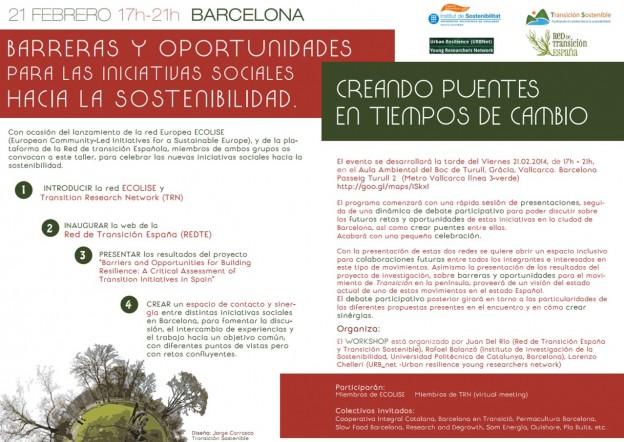 """Cartel Barreras y oportunidades para las iniciativas sociales hacia la sostenibilidad – Creando puentes en tiempos de Cambio"""""""