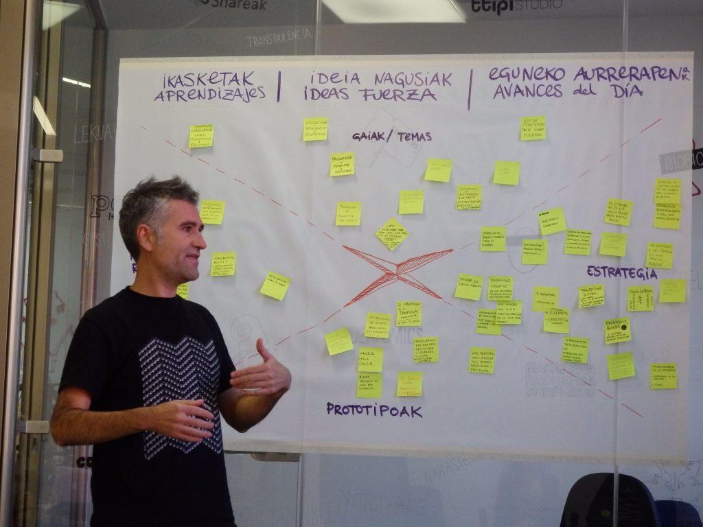 Gorka de Zaramari añade sus conclusiones en el mural colaborativo