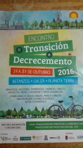 Cartel del encuentro de Transición y Decrecimiento de 2016 (Galicia)