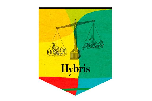 Arte y Transición: Logotipo de la exposición Hybris. Cortesía del MUSAC.